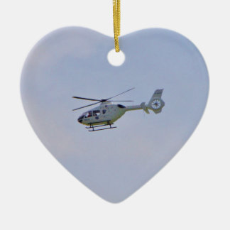 Medical Helicopter Double-Sided Heart Ceramic Christmas Ornament