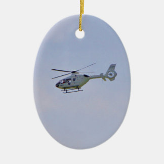 Medical Helicopter Double-Sided Oval Ceramic Christmas Ornament