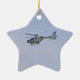 Medical Helicopter Double-Sided Star Ceramic Christmas Ornament