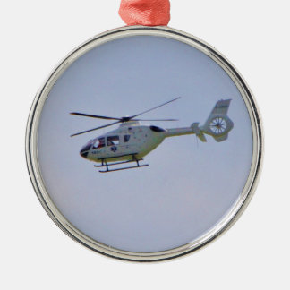 Medical Helicopter Round Metal Christmas Ornament