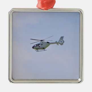 Medical Helicopter Square Metal Christmas Ornament