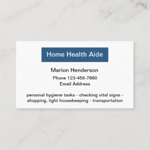 Medical Home Health Aide Business Card