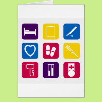 Medical Icons Greeting Cards