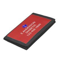 Medical Identification Emergency Information Alert Tri-fold Wallet