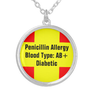 Medical Info Round Pendant Necklace