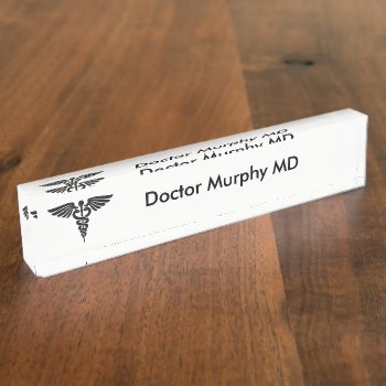 Medical Insignia Caduceus White Name Plate