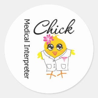 Medical Interpreter Chick Round Sticker