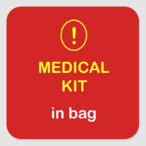 Medical Kit In Bag. Square Sticker