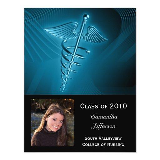 Medical Logo Photo Graduation Invite, Any Year 4.25x5.5 Paper Invitation Card