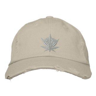 Medical Marijuana Caduceus Silver Baseball Cap