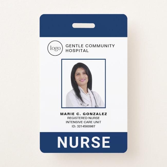 Medical Navy Blue Hospital Logo Nurse Photo ID Badge