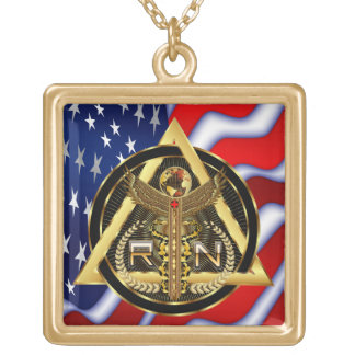 Medical Nurse Logo Square Only VIEW ABOUT Design Gold Plated Necklace