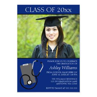 Medical Nursing School Blue Photo Graduation 5x7 Paper Invitation Card