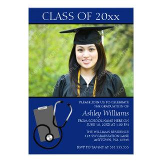 Medical Nursing School Blue Photo Graduation Personalized Announcement