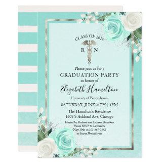 Medical Nursing School Grad Party Teal Floral Card