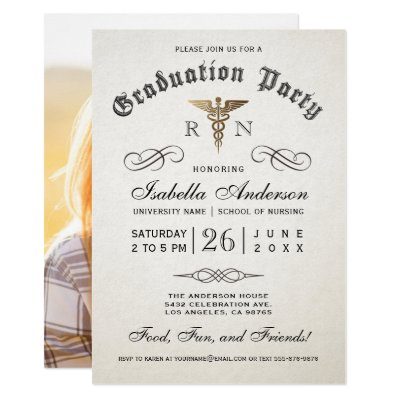 Graduation Party Diploma Customizable RSVP Reply Card – Nursing School Graduation Invitations