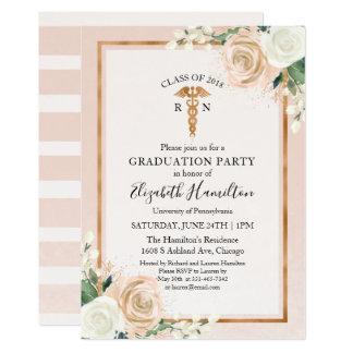 Medical Nursing School Graduation Party Rose Gold Card