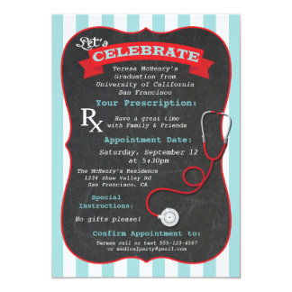 "Medical Nursing School Graduation Prescription 5"" X 7"" Invitation Card"