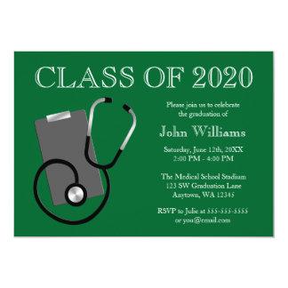 Medical Nursing School Green Graduation Card