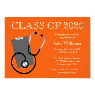Medical Nursing School Orange Graduation Invitations