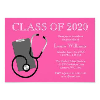 Medical Nursing School Pink Graduation Card