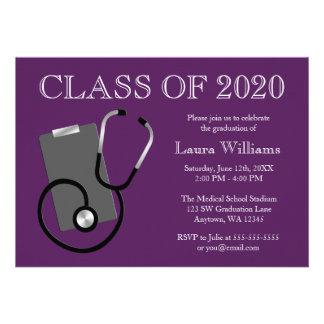 Medical Nursing School Purple Graduation Custom Announcements