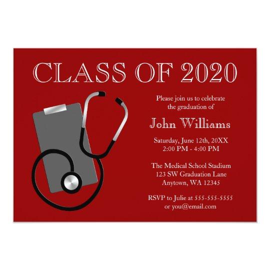 Medical Nursing School Red Graduation Card