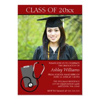 Medical Nursing School Red Photo Graduation Card
