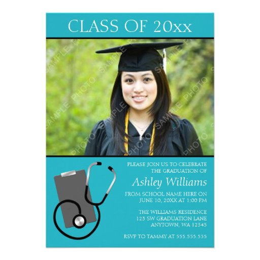 Medical Nursing School Teal Photo Graduation Personalized Invites