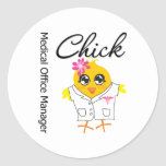 Medical Office Manager Chick Classic Round Sticker