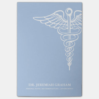 Medical Office Personalized White and Blue Post-it Notes