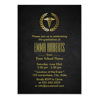 Medical or Nursing School Black & Gold Graduation Card