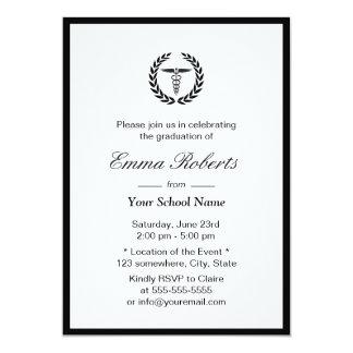 Medical or Nursing School Simple Border Graduation 5x7 Paper Invitation Card