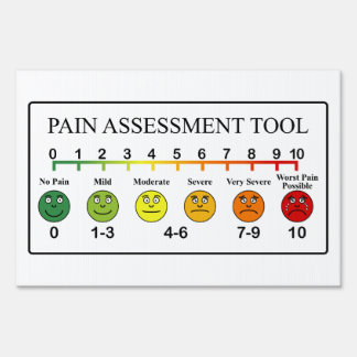 Medical Pain Assessment Tool Chart Yard Sign
