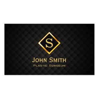 Medical Plastic Surgeon Monogram Modern Black Gold Business Card
