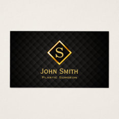 Medical Plastic Surgeon Monogram Modern Black Gold Business Card at Zazzle