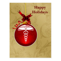 medical profession caduceus sign Holiday Cards