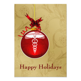 "medical profession caduceus sign  Holiday Cards 5"" X 7"" Invitation Card"