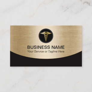 Medical professional business cards templates zazzle medical professional black gold business card reheart Image collections