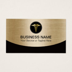 Medical Professional Black & Gold Business Card at Zazzle