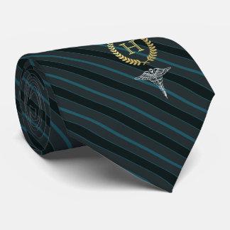 Medical Professional Framed Monogram Slate Blue Neck Tie