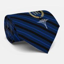 Medical Professional Monogrammed Blue Neck Tie