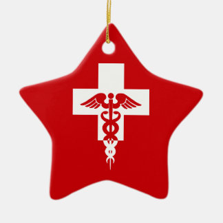Medical Professional star ornament, customizable Ceramic Ornament