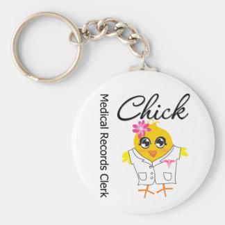 Medical Records Clerk Chick Basic Round Button Keychain