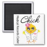 Medical Records Coder Chick 2 Inch Square Magnet