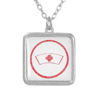 medical red  emt hospital ER nurse cross Square Pendant Necklace
