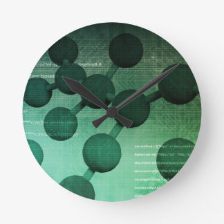 Medical Research and Corporate Technology As Art Round Wallclocks