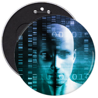 Medical Research in Genetics and DNA Science Button