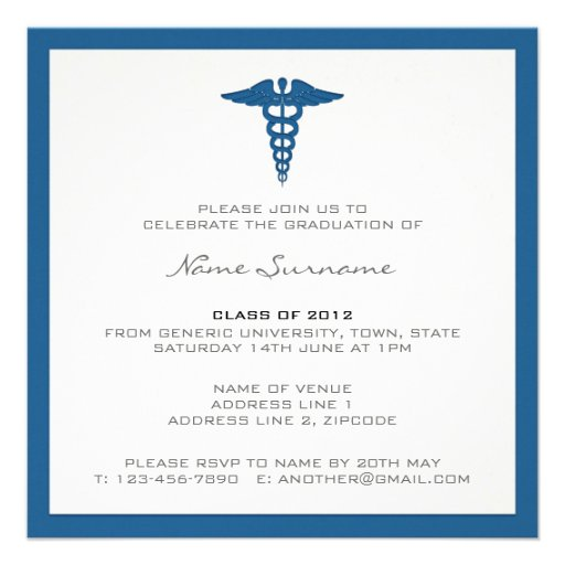 Medical School Graduation Invitation - Letterpress