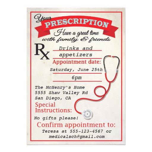 medical school graduation prescription invitation 5 u0026quot  x 7